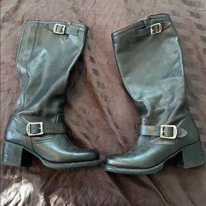 Frye buckle tall heeled boots